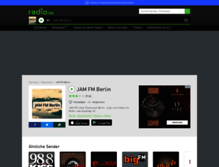 jamfm.radio.de screenshot