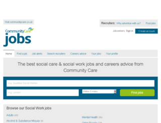 jobs.communitycare.co.uk screenshot