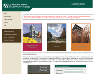 jobs.morainevalley.edu screenshot