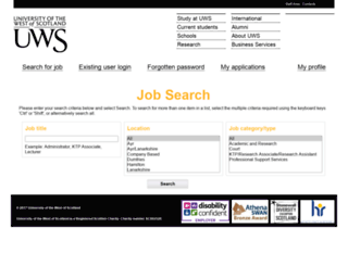 jobs.uws.ac.uk screenshot