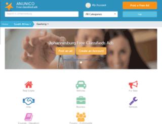johannesburg.anunico.co.za screenshot