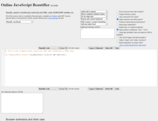 jsbeautifier.org screenshot