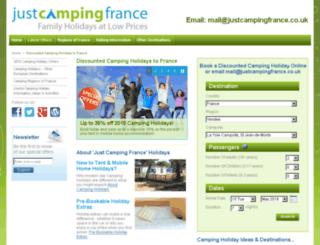 justcampingfrance.co.uk screenshot