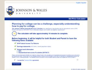 jwu-providence.studentaidcalculator.com screenshot