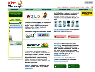 kids.wordsmyth.net screenshot