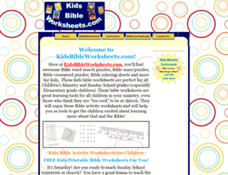 kidsbibleworksheets.com screenshot