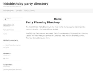 kidsbirthdaypartydirectory.co.za screenshot