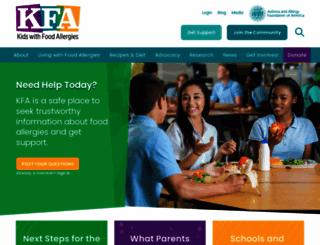 kidswithfoodallergies.org screenshot