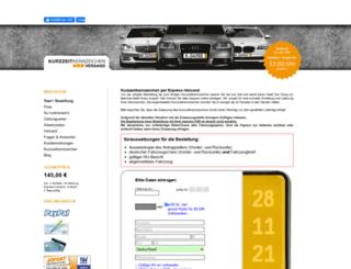kurzzeitkennzeichen-versand.de screenshot