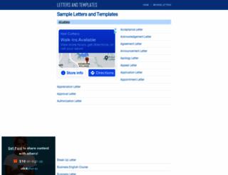 lettersandtemplates.com screenshot