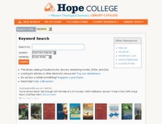 lib.hope.edu screenshot