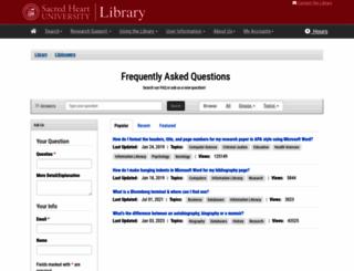 libanswers.sacredheart.edu screenshot