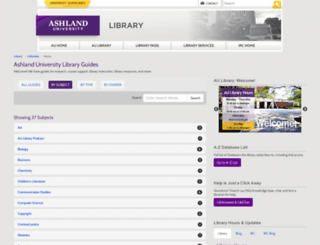 libguides.ashland.edu screenshot
