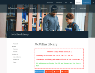 library.indianatech.edu screenshot