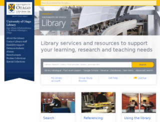 library.otago.ac.nz screenshot