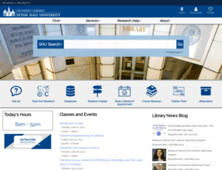 library.shu.edu screenshot