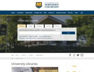 library.unco.edu screenshot