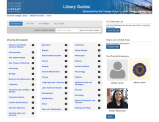 libraryguides.goucher.edu screenshot