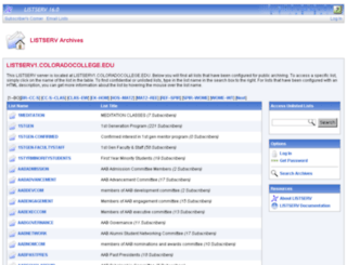 listserv.coloradocollege.edu screenshot