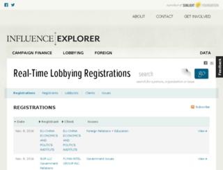 lobbying.influenceexplorer.com screenshot