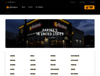 locations.hardees.com screenshot