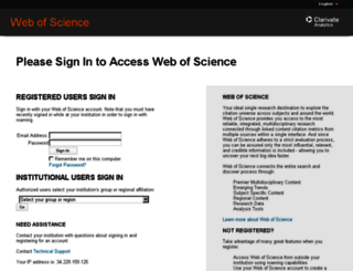 login.webofknowledge.com screenshot