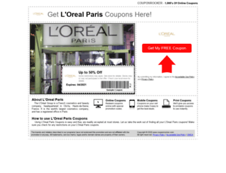 lorealparis.couponrocker.com screenshot