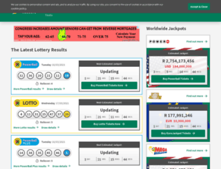 lotteryresults.co.za screenshot