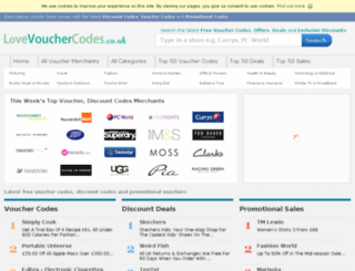lovevouchercodes.co.uk screenshot
