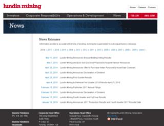 lundinmining.mwnewsroom.com screenshot