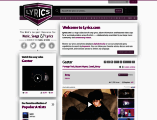 lyrics.com screenshot