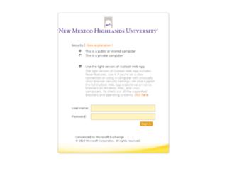 mail.nmhu.edu screenshot