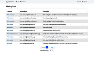 mailman.archlinux.org screenshot