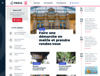 mairie18.paris.fr screenshot
