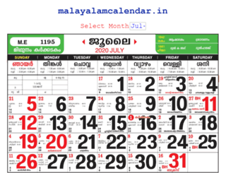 malayalamcalendar.in screenshot