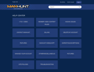 manhunt.zendesk.com screenshot