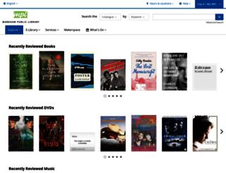 markham.bibliocommons.com screenshot