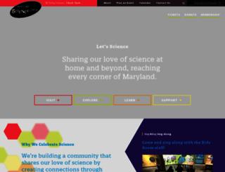 marylandsciencecenter.org screenshot