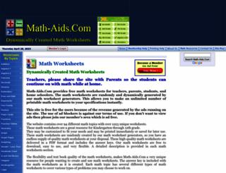 math-aids.com screenshot