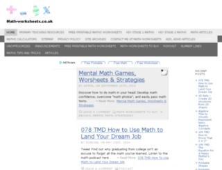 math-worksheets.co.uk screenshot