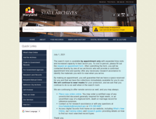 mdarchives.state.md.us screenshot