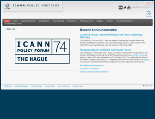 meetings.icann.org screenshot