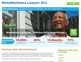 mesotheliomalawyer911.mesotheliomacancernews.com screenshot