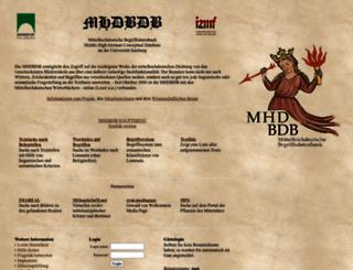 mhdbdb.sbg.ac.at screenshot