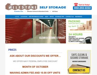 milestoneselfstorage.com screenshot