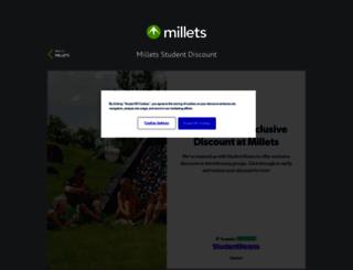 millets.studentbeans.com screenshot