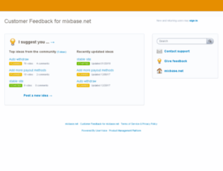 mixbase.uservoice.com screenshot