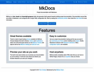 mkdocs.org screenshot