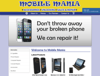 mobilemaniastore.ie screenshot