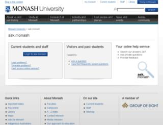 monash.custhelp.com screenshot